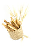 Fresh grissini bread sticks in a basket Royalty Free Stock Photos