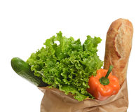Fresh groceries in a paper bag Royalty Free Stock Photo