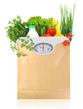 Fresh groceries in a paper bag Royalty Free Stock Photos