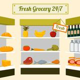 Fresh grocery foods on store shelves. Fresh grocery foods of fruits vegetables meat chicken fish and drinks on store shelves vector illustration stock illustration