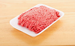 Fresh Ground Beef in Polystyrene Tray Royalty Free Stock Images
