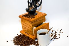 Fresh Ground and Brewed Coffee Royalty Free Stock Photography