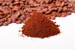 Fresh ground coffee. With coffee Bean stock images