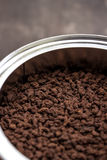 Fresh ground coffee in can Stock Image