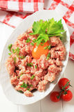 Fresh ground meat. And egg yolk in a bowl Stock Images