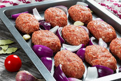 Fresh ground raw meat cutlets in baking dish. With red onion, garlic and bay leaves drizzled with olive oil to prepare for frying, view from above, close-up Stock Photography