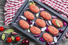 Fresh ground raw meat cutlets in baking dish Royalty Free Stock Photography