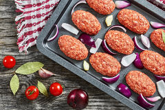 Fresh ground raw meat cutlets in baking dish. With red onion, garlic and bay leaves drizzled with olive oil to prepare for frying in oven, view from above Royalty Free Stock Photography