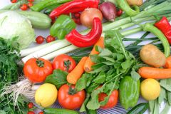 Fresh Group of different fruit and vegetables royalty free stock image
