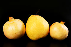 Fresh group oriental pear and pomegranate Royalty Free Stock Image