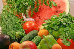 Fresh group of vegetables and fruits Stock Images