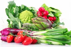 Fresh group of vegetables on white background. A fresh group of vegetables on white background Stock Images