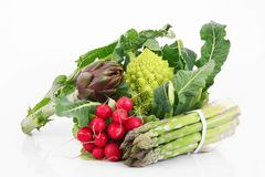 Fresh group of vegetables on white background. A fresh group of vegetables on white background Stock Image