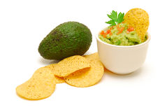 fresh guacamole and  avocado Stock Photos