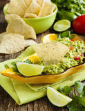 Fresh guacamole with corn tortilla chips Royalty Free Stock Photo