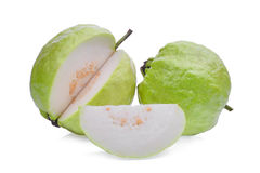 Fresh guava fruit with slice solated on white Stock Photos