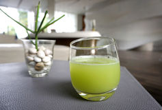 Fresh guava juice in clear glass Stock Photo