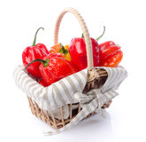 Fresh habanero peppers in a basket Stock Image