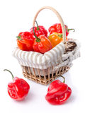 Fresh habanero peppers in a basket Royalty Free Stock Image