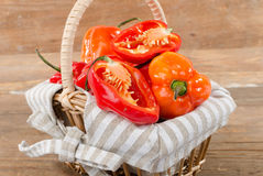 Fresh habanero peppers in a basket Stock Photos