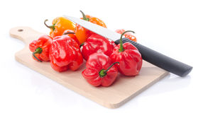 Fresh habanero peppers on cutting board Royalty Free Stock Image