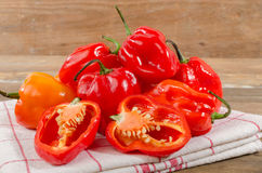 Fresh habanero peppers. On towel Royalty Free Stock Photo