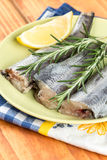 Fresh hake fish with rosemary and lemon on the plate Royalty Free Stock Images