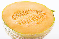 Fresh half cantaloupe melon stock photography