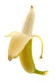 Fresh half peeled banana Stock Images