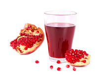 Fresh half of pomegranate juice Stock Images