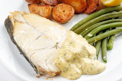 Fresh Halibut steak meal Stock Photography