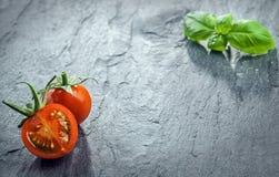 Fresh halved tomato and fresh basil Stock Image