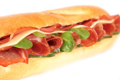Fresh ham & cheese salad French baguette Stock Photo