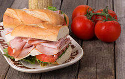 Fresh Ham and Cheese Sandwichs Royalty Free Stock Photography