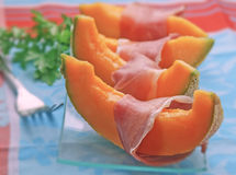 Fresh ham and melon Stock Photo