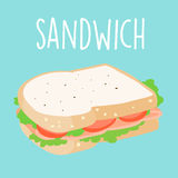 Fresh ham sandwich graphic  illustration Royalty Free Stock Photo
