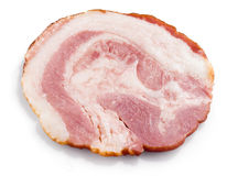 Fresh ham slice isolated in white. Royalty Free Stock Photography
