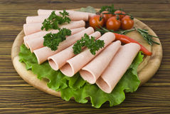 Fresh ham slices with lattuce and cherry tomato Royalty Free Stock Photography
