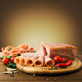 Fresh ham slices with lattuce and cherry tomato Stock Photos