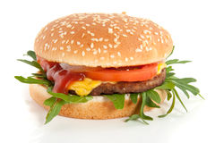 A fresh hamburger with cheese and salad Stock Photography