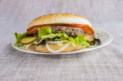 Fresh hamburger with a chop of marbled beef and fresh vegetables on a plate Stock Photo