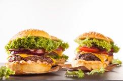 Fresh hamburgers isolated on white background Royalty Free Stock Photos