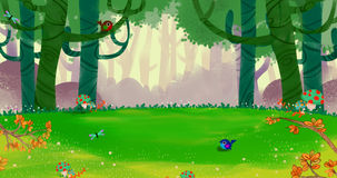 The Fresh Happy Spring Air in the Small Forest. Video Game`s Digital CG Artwork, Concept Illustration, Realistic Cartoon Style Background Stock Photo
