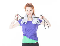 Fresh and happy young woman train with elastic bands Stock Photo