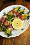 Fresh haricots and bacon Stock Photo