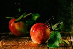 Fresh harvest of apples. Nature theme with red grapes on wooden background. Stock Image