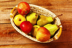 Fresh harvest of apples and pears. Royalty Free Stock Photo