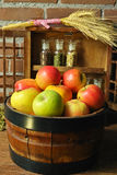 Fresh harvest of organic farm green and red apples Royalty Free Stock Photo