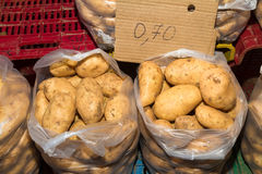Fresh harvest of potatoes in 10 kilo bags Stock Photo