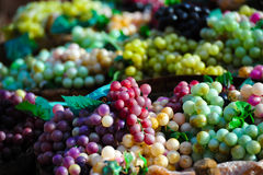 Fresh harvested grapes. Basket full of grapes of different tonalities Royalty Free Stock Photos